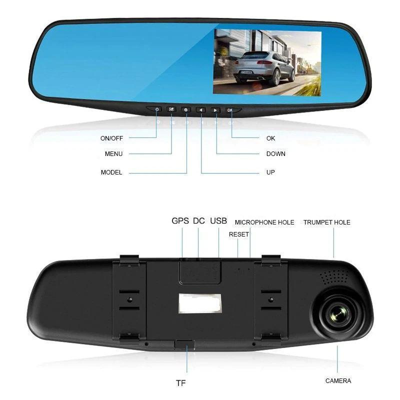 One/Two Lens Car Camera Full HD 1080P Video Recorder Rearview Mirror With DVR Auto Registrator