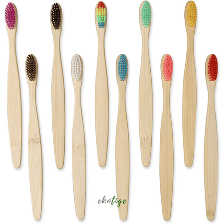 Lot de 10 Brosses à dents en bambou naturel