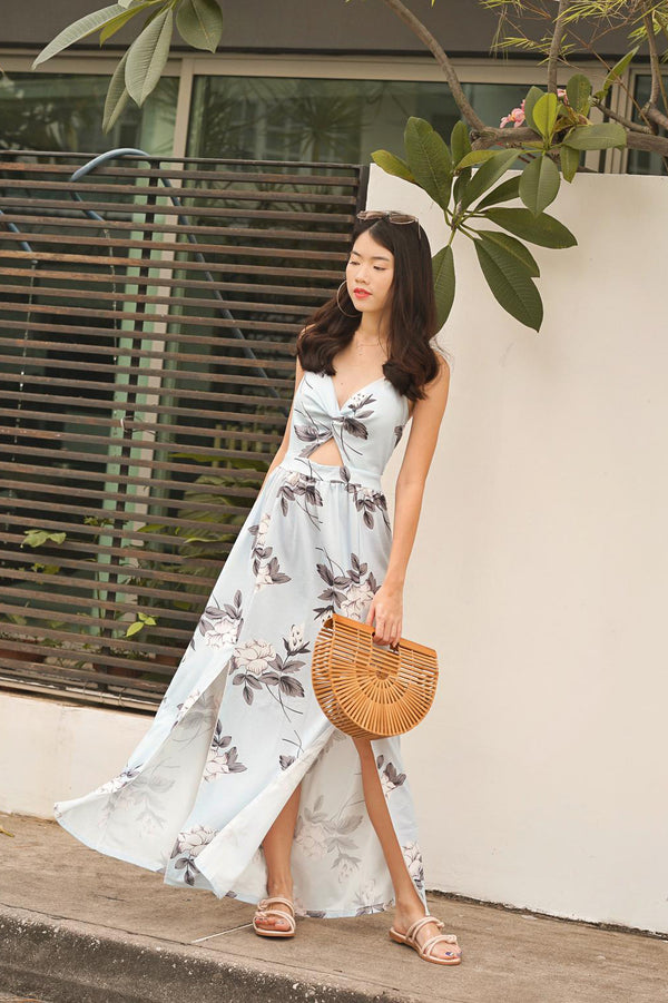 Adella Floral Maxi Dress in Blue