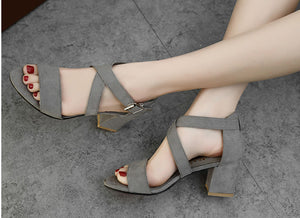Natalie Double Buckle Heels in Grey