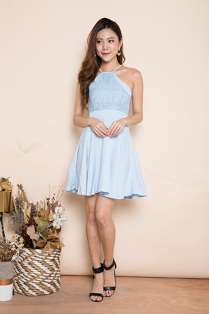 Angelika Crochet Dress in Blue