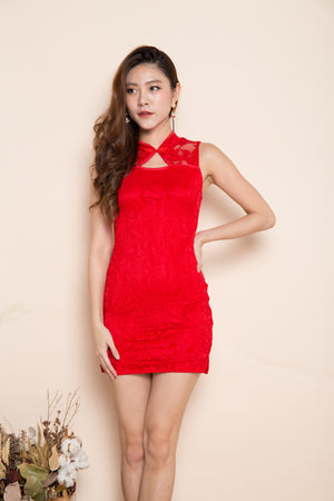 Lavender Cheongsam Dress in Red