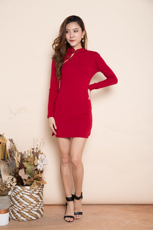 Mariama Long Sleeved Cheongsam in Burgundy