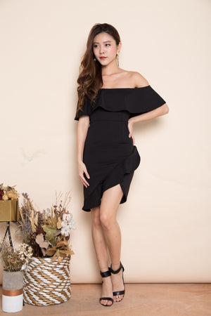 Elersa Wrapped Dress in Black