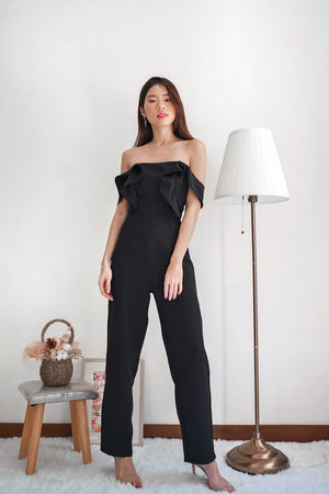 *PREMIUM * Regilia Two Ways Flutter Jumpsuit in Black - Self Manufactured by LBRLABEL