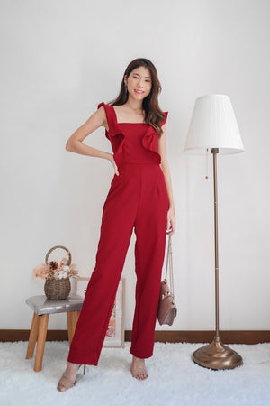 * PREMIUM * - Regilia Two Ways Flutter Jumpsuit in Red - Self Manufactured by LBRLABEL