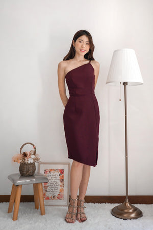 Load image into Gallery viewer, *PREMIUM* - Tayilia Toga Dress in Dark Burgundy - Self Manufactured by LBRLABEL