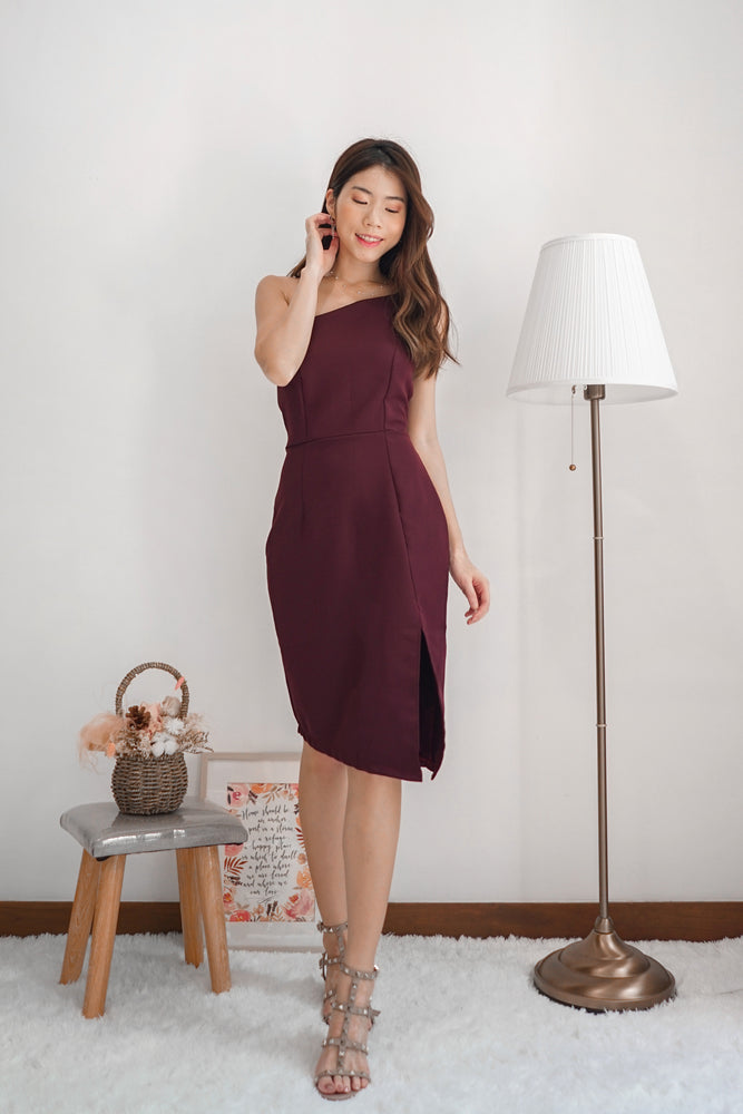 *PREMIUM* - Tayilia Toga Dress in Dark Burgundy - Self Manufactured by LBRLABEL