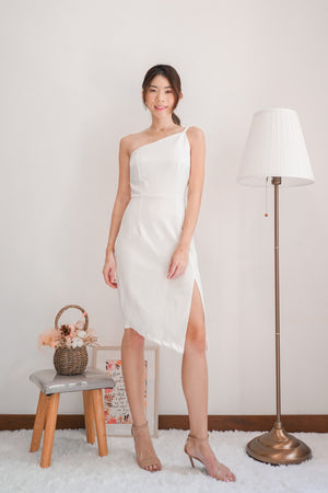*PREMIUM* - Tayilia Toga Dress in White - Self Manufactured by LBRLABEL