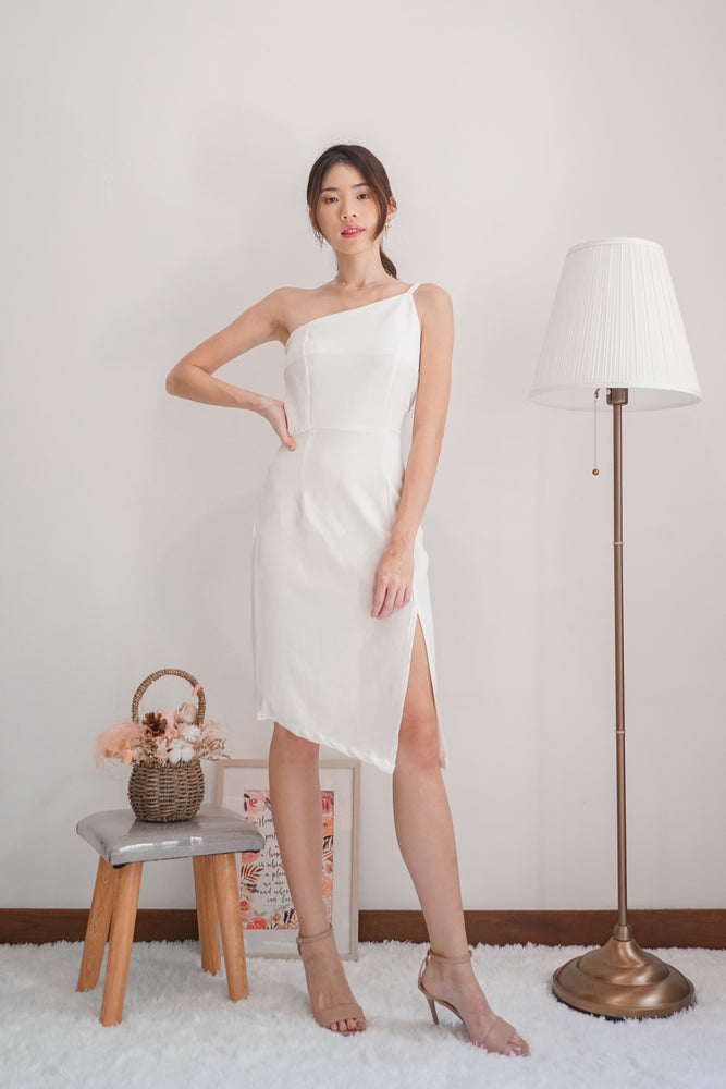 Load image into Gallery viewer, *PREMIUM* - Tayilia Toga Dress in White - Self Manufactured by LBRLABEL