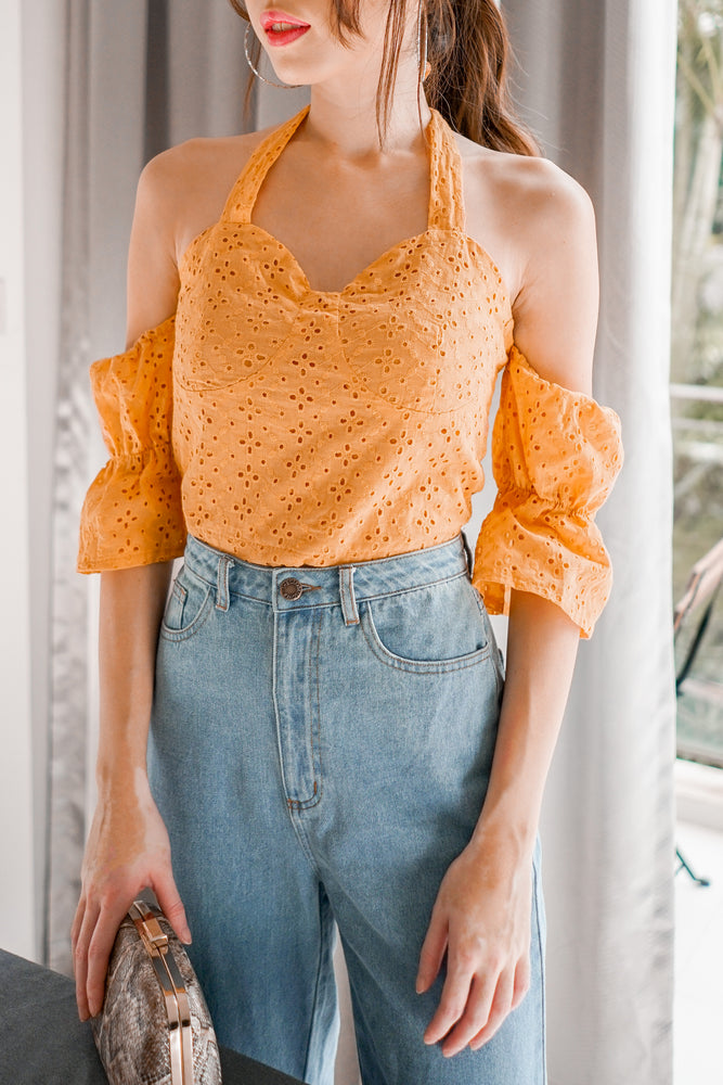 Load image into Gallery viewer, * PREMIUM * Jerilia Halter Crochet Top in Mustard - Self Manufactured by LBRLABEL