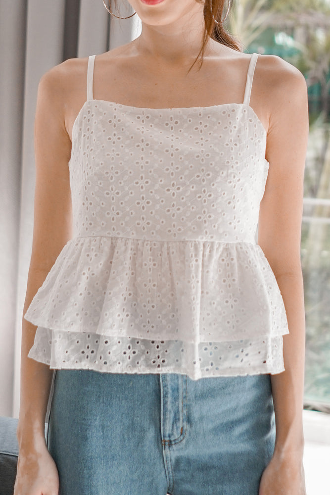 Load image into Gallery viewer, *PREMIUM* Chulia Double Layer Crochet Top in White - Self Manufactured by LBRLABEL
