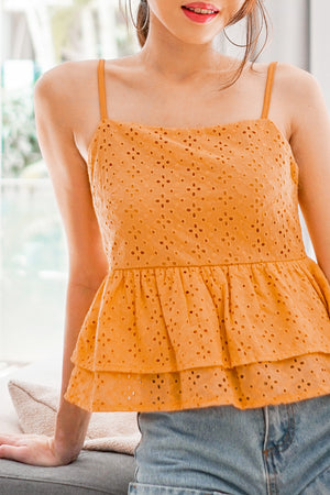 Load image into Gallery viewer, *PREMIUM* Chulia Double Layer Crochet Top in Mustard - Self Manufactured by LBRLABEL