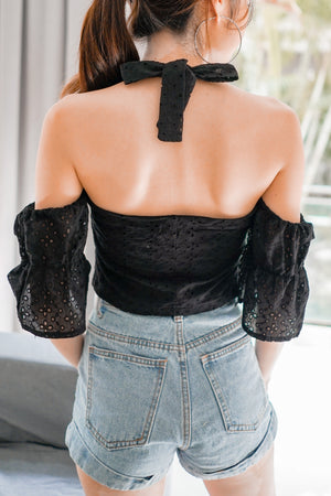 Load image into Gallery viewer, * PREMIUM * Jerilia Halter Crochet Top in Black - Self Manufactured by LBRLABEL