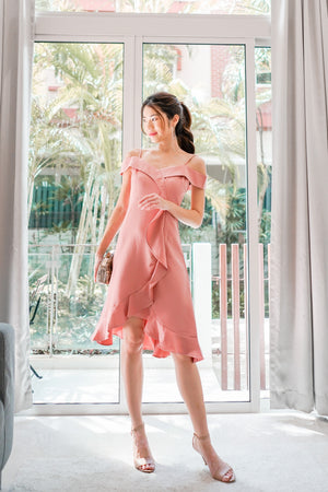 Load image into Gallery viewer, Caralle Off Shoulder Flutter Dress in Pink