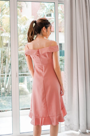 Caralle Off Shoulder Flutter Dress in Pink