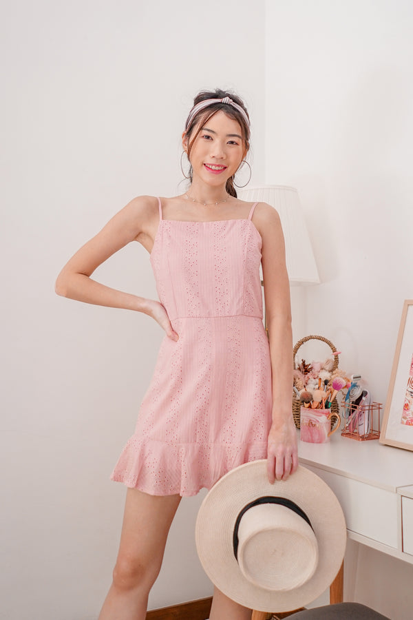 * PREMIUM * Arilia Crochet Dress Romper in Pink - Self Manufactured by LBRLABEL