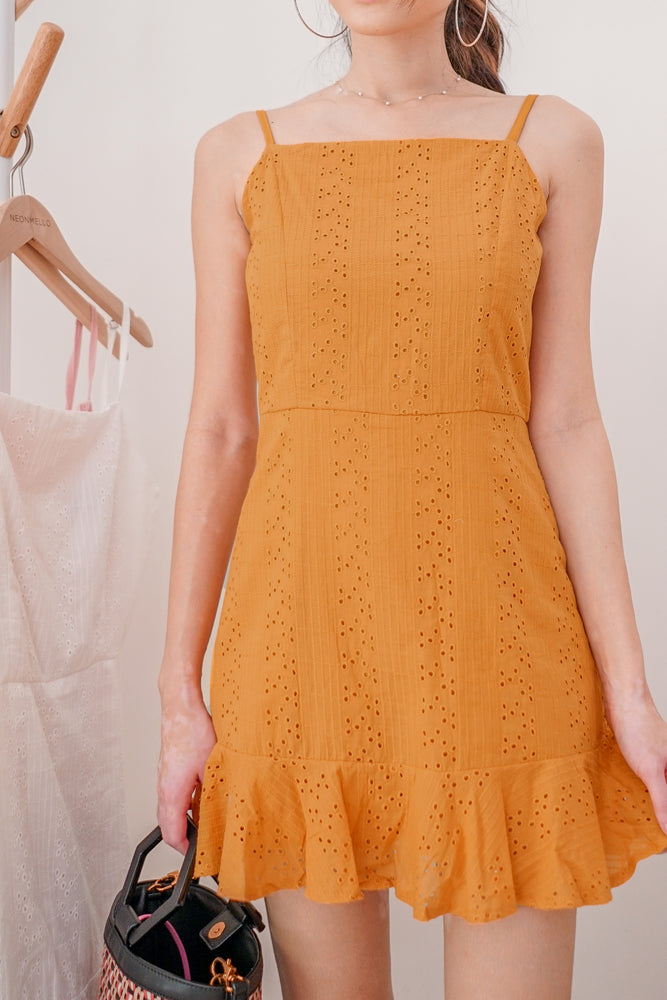 Load image into Gallery viewer, * PREMIUM * Arilia Crochet Dress Romper in Mustard - Self Manufactured by LBRLABEL