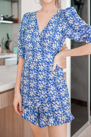 Load image into Gallery viewer, Gloria Floral Romper in Blue