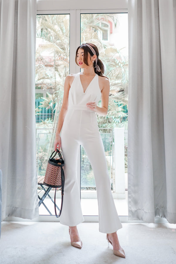 * PREMIUM * - Fiolia Halter Jumpsuit in White - Self Manufactured by LBRLABEL