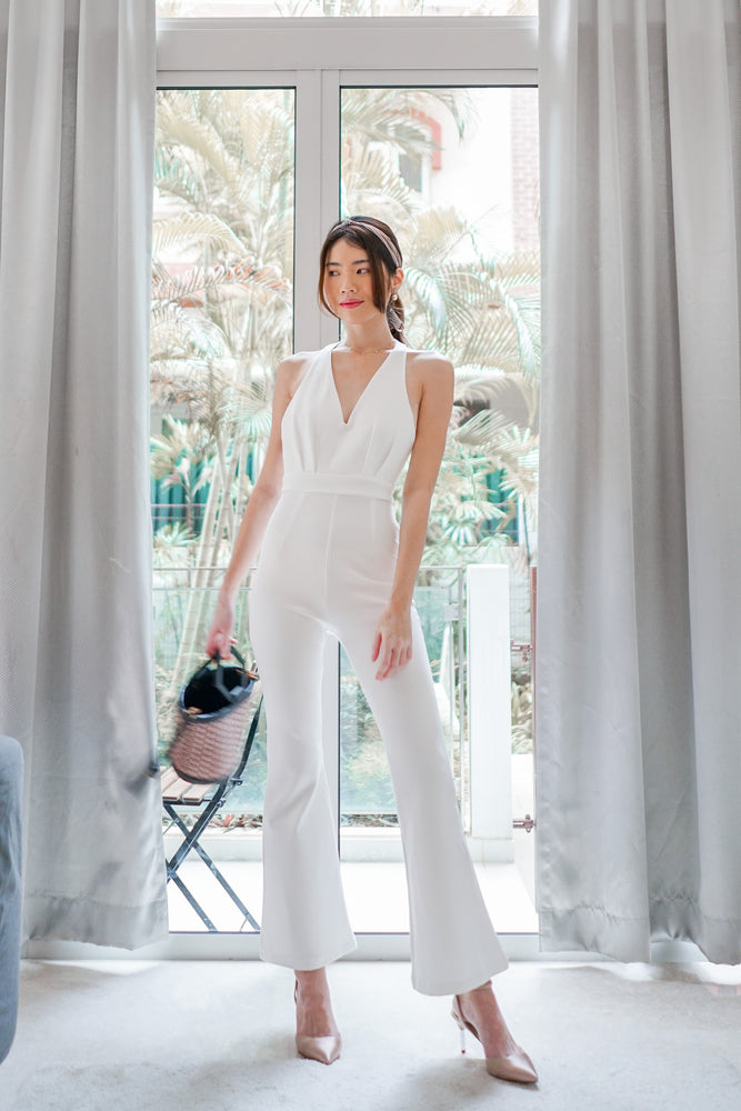 Load image into Gallery viewer, * PREMIUM * - Fiolia Halter Jumpsuit in White - Self Manufactured by LBRLABEL