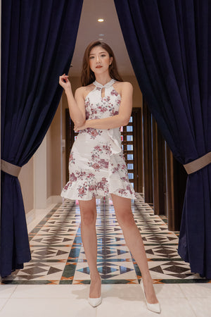 Load image into Gallery viewer, * PREMIUM * - Camilia Oriental Cheongsam Dress in White - Self Manufactured by LBRLABEL