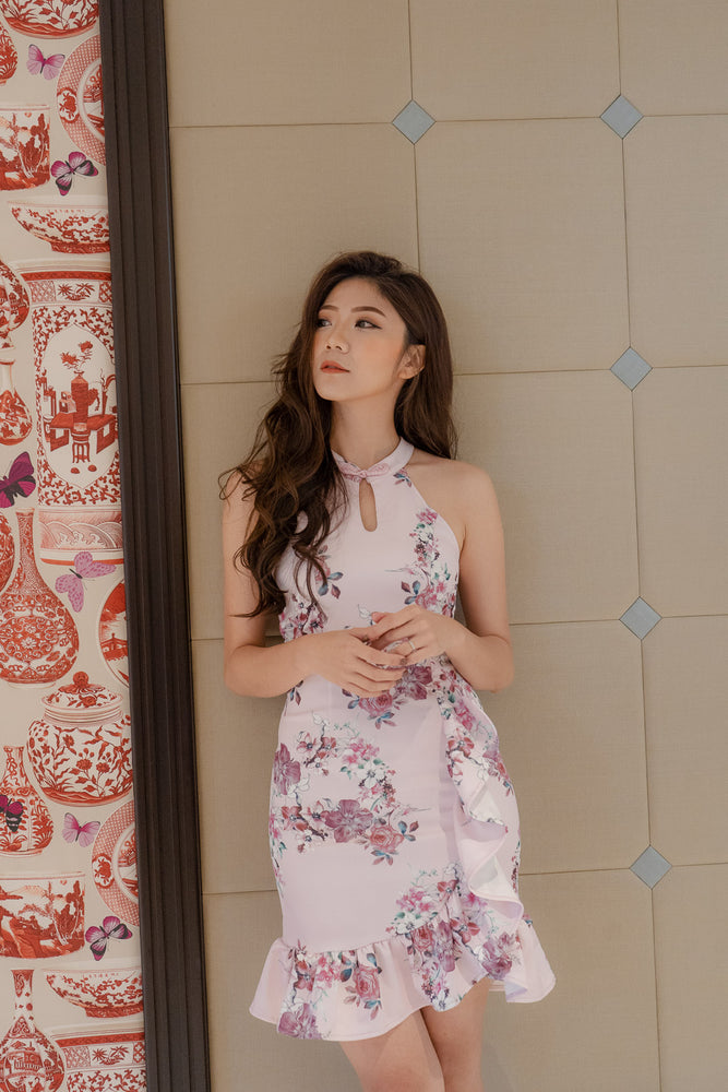* PREMIUM * - Camilia Oriental Cheongsam Dress in Pink - Self Manufactured by LBRLABEL