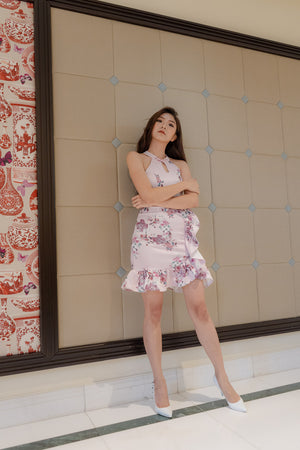Load image into Gallery viewer, * PREMIUM * - Camilia Oriental Cheongsam Dress in Pink - Self Manufactured by LBRLABEL