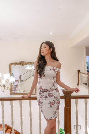 Load image into Gallery viewer, * PREMIUM * - Andilia Off Shoulder Floral Dress in White - Self Manufactured by LBRLABEL only
