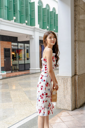* PREMIUM * Pandolia Floral Midi Dress in White - Self Manufactured by LBRLABEL