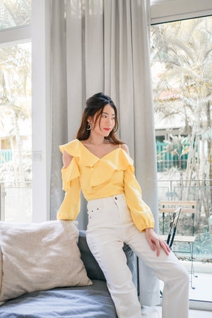 *PREMIUM * - Irolia Flutter Off Shoulder Top in Pastel Yellow - Self Manufactured by LBRLABEL
