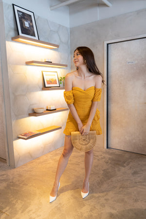 * PREMIUM * Audrilia Crochet Bustier Romper in Mustard Yellow - Self Manufactured by LBRLABEL