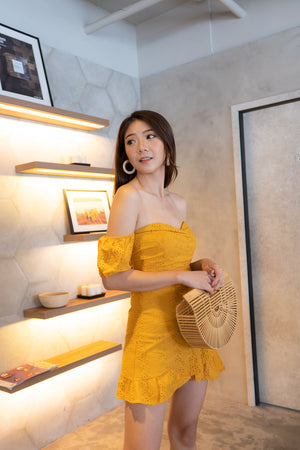 Load image into Gallery viewer, * PREMIUM * Audrilia Crochet Bustier Romper in Mustard Yellow - Self Manufactured by LBRLABEL