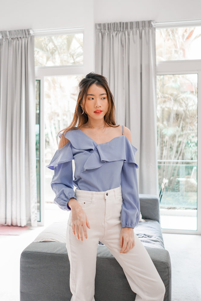 Load image into Gallery viewer, *PREMIUM * - Irolia Flutter Off Shoulder Top in Lilac - Self Manufactured by LBRLABEL