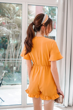 * PREMIUM * - Hesilia Sleeved Romper in Mustard Yellow - Self Manufactured by LBRLABEL