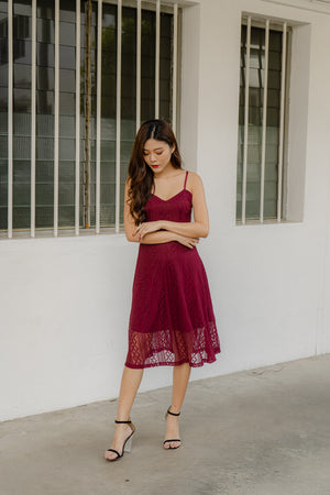 *PREMIUM* - Yenilia Cami Spag Dress in Burgundy - Self Manufactured by LBRLABEL