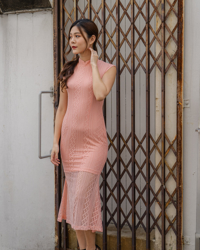Load image into Gallery viewer, *PREMIUM* - Beralia Cheongsam Mermaid Dress in Pink - Self Manufactured by LBRLABEL