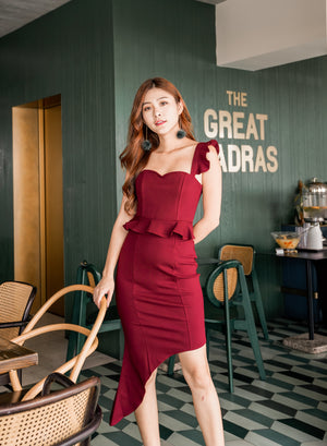 * PREMIUM * Penilia Asymmetrical Peplum Dress in Burgundy - Self Manufactured by LBRLABEL