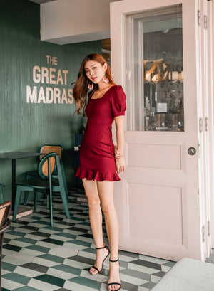 *PREMIUM* - Fausilia Sleeved Mermaid Dress in Burgundy - Self Manufactured by LBRLABEL