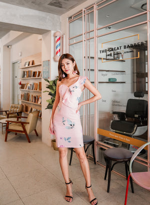 *PREMIUM* Zelylia Floral Toga Dress in Pink - Self Manufactured by LBRLABEL