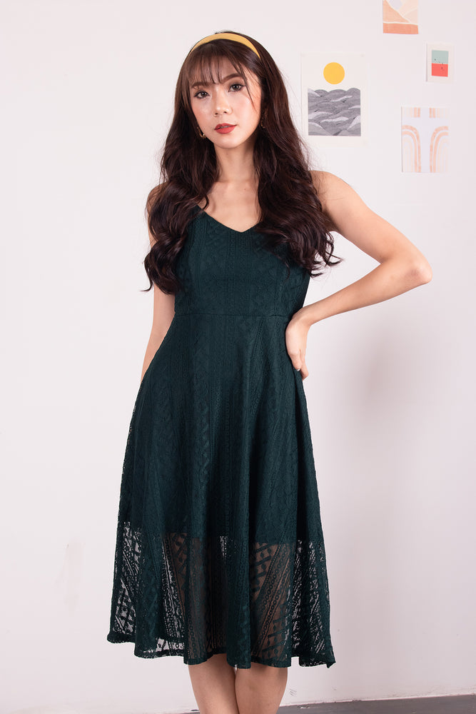 *PREMIUM* - Yenilia Cami Spag Dress in Emerald Green - Self-Manufactured by LBRLABEL