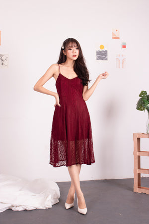 *PREMIUM* - Yenilia Cami Spag Dress in Burgundy - Self-Manufactured by LBRLABEL