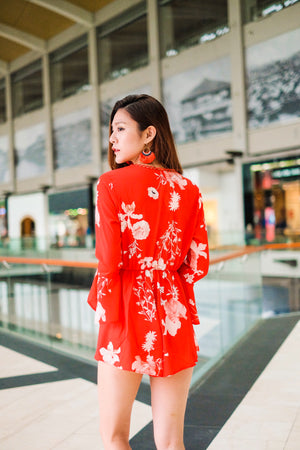 Mirandea Floral Romper in Red