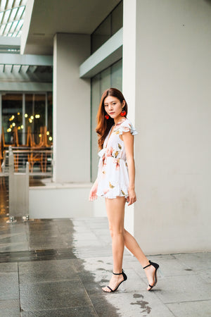 Paola Floral Romper in White