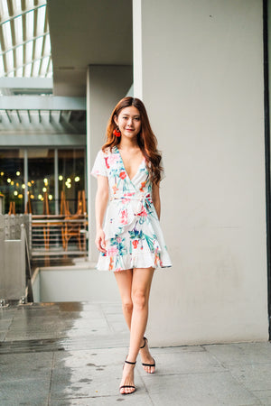 Alaya Floral Wrapped Dress in White