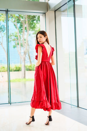 LUXE - Saige Flutter Gown Dress in Red