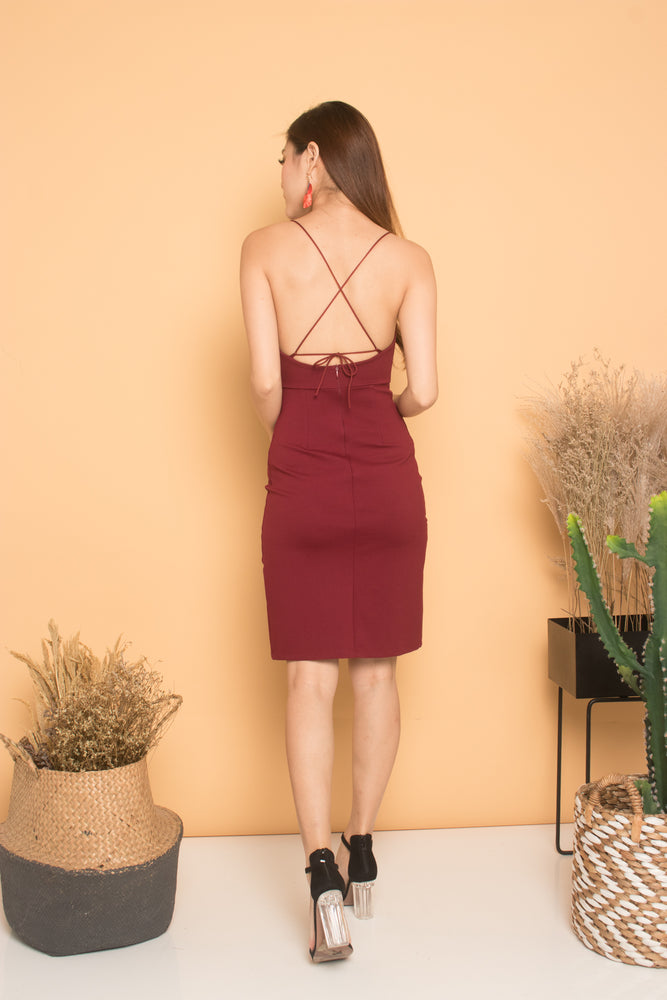 Load image into Gallery viewer, * PREMIUM * Cerdilia Cami 2 Ways Dress in Burgundy - LBRLABEL MANUFACTURED