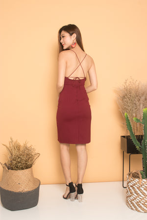 * PREMIUM * Cerdilia Cami 2 Ways Dress in Burgundy - LBRLABEL MANUFACTURED