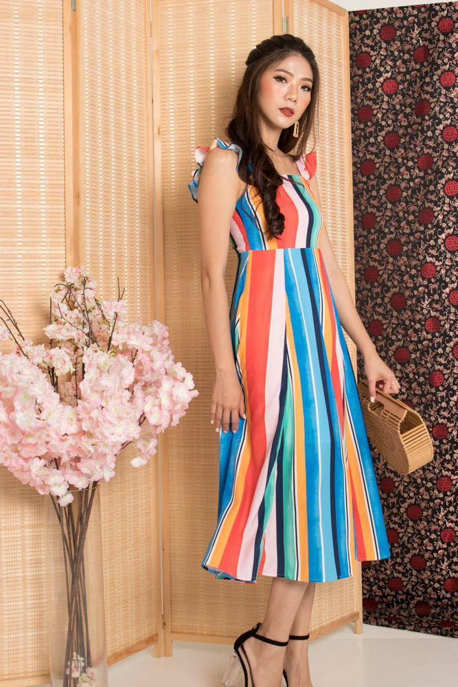 Load image into Gallery viewer, * PREMIUM* - Jujulia Two Ways Midi Dress in Multi Stripes - Self Manufactured by LBRLABEL