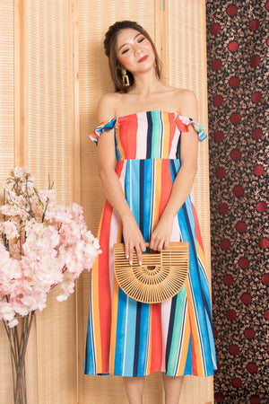 * PREMIUM* - Jujulia Two Ways Midi Dress in Multi Stripes - Self Manufactured by LBRLABEL
